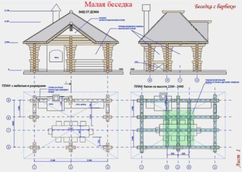 Предварительный чертеж, учитывающий расположение мебели и кухонной зоны