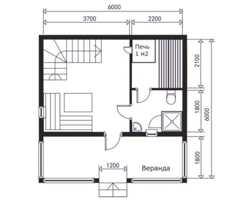 Распространенная планировка бани 6х6