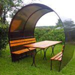 Еще один вариант легкой конструкции из металла и поликарбоната