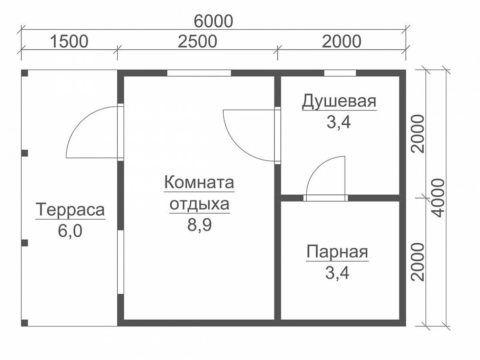 Проект бани с террасой 4х6
