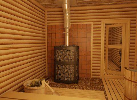 Внутреннее убранство современной бани