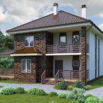 Кирпичный дом с просторной пристроенной верандой