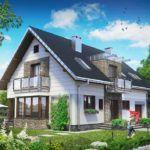 Пеноблочный дом с маленькой остеклённой верандой и балконом над ней