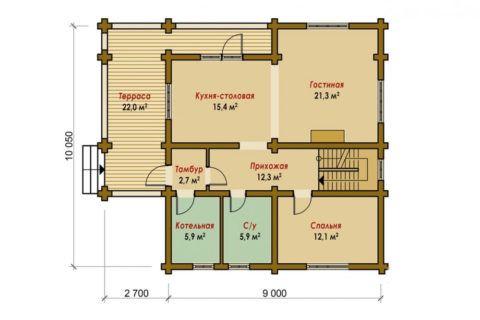 Проект дома: веранда, котельная и жилые помещения – всё в одном уровне
