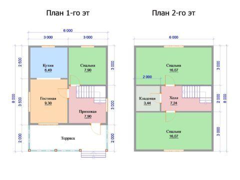 Терраса, длина которой соответствует ширине фасада