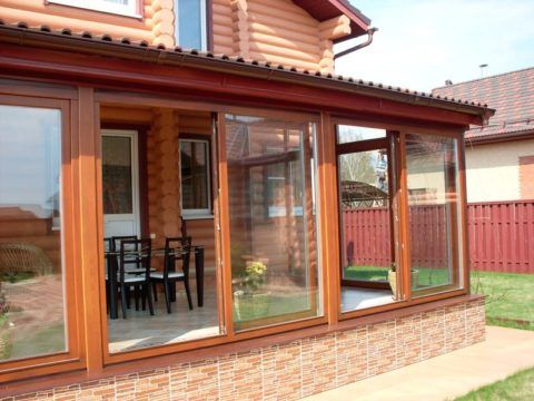 Раздвижные окна на террасе