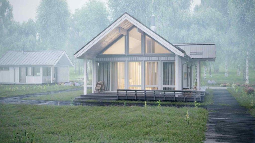 Проекты домов одноэтажных с верандой – легкая каркасная конструкция