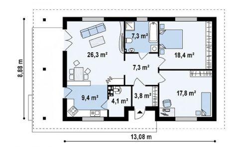 План дома на 96 м2