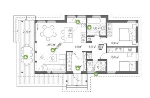 План одноэтажного дома с террасой 4005 – А.Бруни