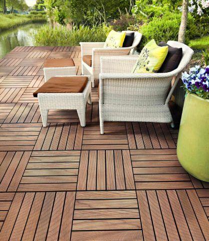 Садовая мебель на площадке из ДПК паркета