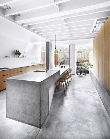 Бетонная мебель в помещении