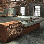 Рабочий кухонный стол из обработанного бревна и бетонной плиты