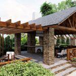 Летний вариант - деревянная крыша на каменных столбах