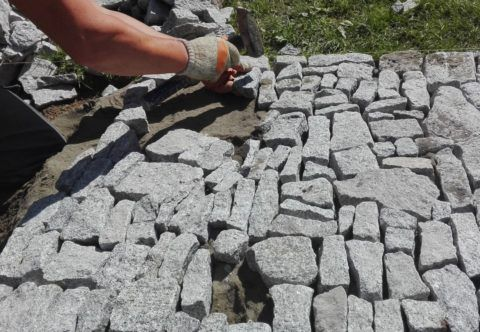 Укладка камня на ЦПС